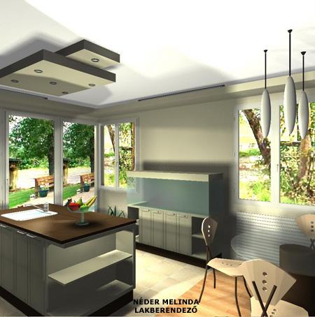 250 nm-es ház, nappali-konyha (látvány tervek)
