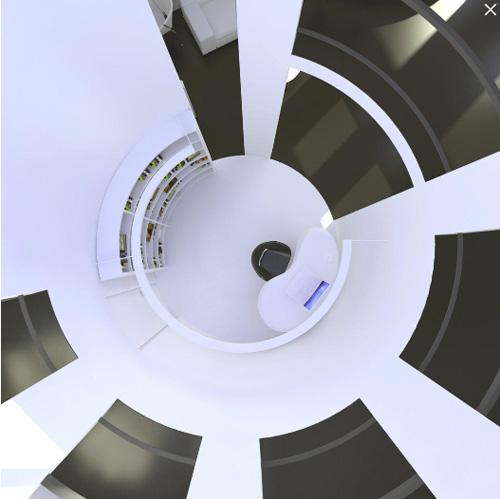 Futurisztikus dolgozó a lépcsőházban