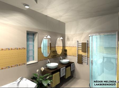 50 nm-es ház, fürdőszoba (látvány tervek)