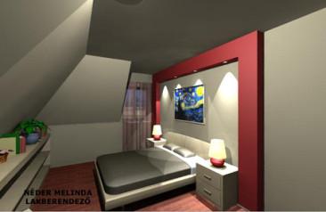 250 nm-es ház, hálószoba (látvány tervek)