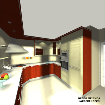200 nm-es ház, konyha 2. (látvány tervek)