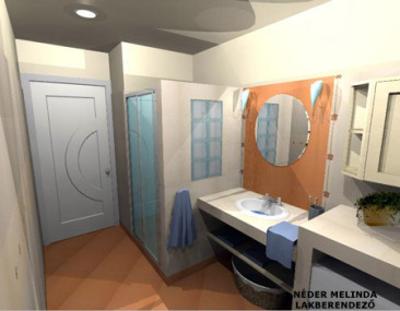 200 nm-es ház, kis fürdőszoba 2. (látvány tervek)