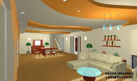 200 nm-es ház, nappali-étkező (látvány tervek)