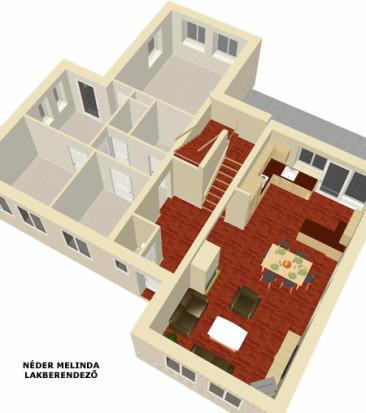 250 nm-es ház, nappali-konyha (vázlat tervek)
